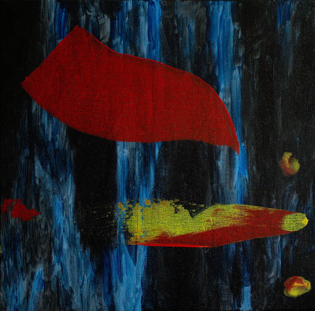 Artwork abstract-red-yellow-on-blue-black-on-canvas